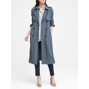 Banana Republic Soft Pleated Long Trench in Blue